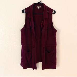 Maurices Jackets & Coats - Burgundy Vest
